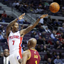 Detroit Pistons guard Brandon Jennings (7) passes the ball against the defense from Cleveland Cavaliers guard Jarrett Jack (1) during the second half of an NBA basketball game Wednesday, Feb. 12, 2014, in Auburn Hills, Mich The Associated Press
