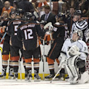 The Kings goaltender Jonathan Quick, right, waits for the overtime during a match against the Kings in Anaheim, Calif., on Wednesday Nov. 12, 2014 The Associated Press