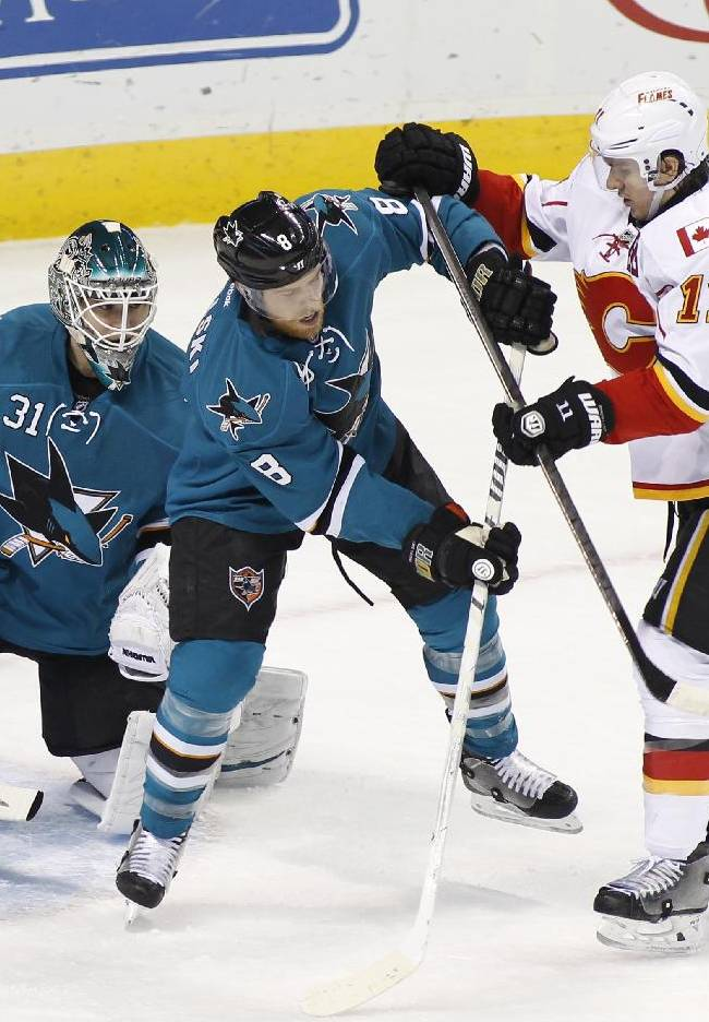 Pavelski leads Sharks past Flames 3-2