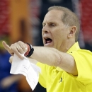 Michigan head coach John Beilein works during practice of the NCAA Final Four tournament college basketball semifinal game Friday, April 5, 2013, in Atlanta. Michigan plays Syracuse in a semifinal game on Saturday. (AP Photo/John Bazemore)