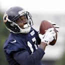 Chicago Bears wide receiver Alshon Jeffery (17) catches a ball during NFL football training camp at Olivet Nazarene University on Saturday, July 26, 2014, in Bourbonnais, Ill The Associated Press