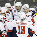 Washington Capitals' Alex Ovechkin (8), of Russia, top center, celebrates with teammates after scoring against the Nashville Predators in the second period of an NHL hockey game Friday, Jan. 16, 2015, in Nashville, Tenn The Associated Press
