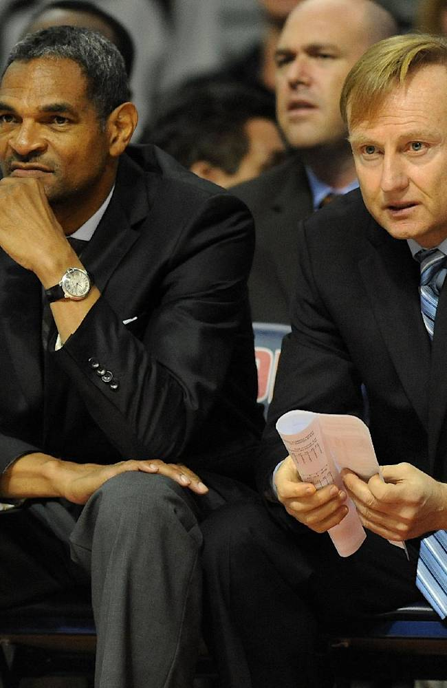 Detroit Pistons Head Coach Maurice Cheeks, left, and Assistant Coach Maz Trakh watch their team play Maccabi Haifa during the first quarter of an NBA preseason basketball game at the Palace of Auburn Hills, Mich., Tuesday, Oct. 8, 2013