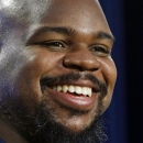 New England Patriots football defensive tackle Vince Wilfork smiles during a news conference in Foxborough, Mass., Friday, Jan. 23, 2015. The Patriots face the Seattle Seahawks in NFL football's Super Bowl XLIX on Sunday, Feb. 1, 2015, in Glendale, Ariz T