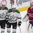 Dallas Stars' Patrick Eaves, centre, celebrates his goal FubarMontreal Canadiens goalie Carey Price with teammate Jamie Benn during the second period of an NHL hockey game Tuesday, Jan. 27, 2015, in Montreal The Associated Press