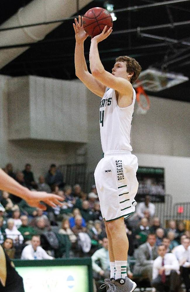 Northwest Missouri State guard Conner Crooker takes a jump shot against Lindenwood during an NCAA college basketball game at Bearcat Arena in Maryville, Mo., Wednesday, Feb. 19, 2014