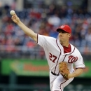 Washington Nationals starting pitcher Jordan Zimmermann (27) throws during the first inning of a baseball game against the Philadelphia Phillies at Nationals Park, Friday, May 24, 2013, in Washington. (AP Photo/Alex Brandon)