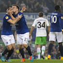 Everton's Seamus Coleman, second left, kisses teammate Leighton Baines as he celebrates after scoring against Wolfsburg during their Europa League Group H soccer match at Goodison Park Stadium, Liverpool, England, Thursday Sept. 18, 2014