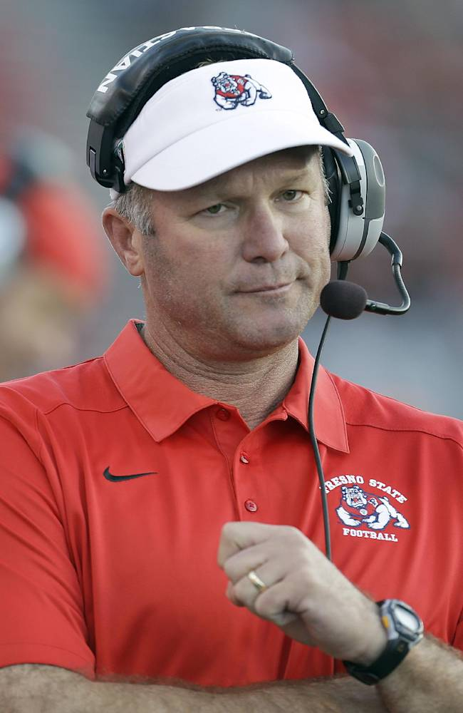 Fresno State head coach Tim DeRuyter reacts on the sideline during the second half against San Jose State in an NCAA college football game on Friday, Nov. 29, 2013, in San Jose, Calif. San Jose State won 62-52