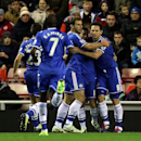 Chelsea's Frank Lampard, right, celebrates his goal with his teammates during their English Premier League soccer match against Sunderland at the Stadium of Light, Sunderland, England, Wednesday, Dec. 4, 2013