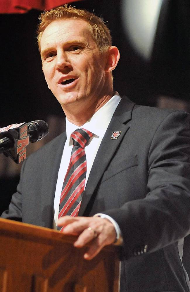 Newly announced Arkansas State head football coach Blake Anderson speaks at a news conference on Thursday, Dec. 19, 2013, in Jonesboro, Ark