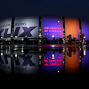 The Super Bowl XLIX is displayed on the University of Phoenix Stadium Thursday, Jan. 29, 2015, in Glendale, Ariz. The New England Patriots face the Seattle Seahawks in Super Bowl XLIX on Sunday The Associated Press