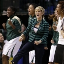 Baylor head coach Kim Mulkey and the bench celebrate a score by Baylor's Brooklyn Pope (32) in the second half of an NCAA college basketball game against Oklahoma State in the Big 12 women's tournament Sunday, March 10, 2013, in Dallas. Baylor won 77-69. (AP Photo/Tony Gutierrez)