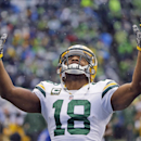 Green Bay Packers' Randall Cobb looks up before the NFL football NFC Championship game against the Seattle Seahawks Sunday, Jan. 18, 2015, in Seattle The Associated Press
