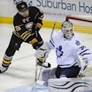 Buffalo Sabres' Cody Hodgson (19), shoots on Toronto Maple Leafs' James Reimer (34) during the third period of an NHL hockey game Saturday, Nov. 15, 2014, in Buffalo, N.Y. Buffalo won 6-2 The Associated Press