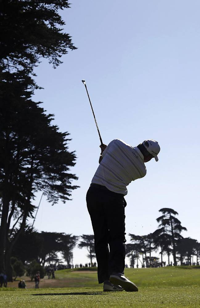 Fred Couples hits from the third tee of TPC Harding Park during the second round of the Charles Schwab Cup Championship golf tournament Friday, Nov. 1, 2013 in San Francisco