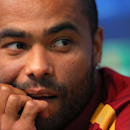Roma player Ashley Cole pauses, during a press conference at the Etihad Stadium, in Manchester, England, Monday, Sept. 29, 2014. Roma will be playing Manchester City in a Champions League Group E soccer match on Tuesday