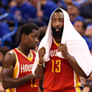 OKLAHOMA CITY, OK - MAY 01:  James Harden #13 and Patrick Beverley #12 of the Houston Rockets prepare to check into Game Five of the Western Conference Quarterfinals of the 2013 NBA Playoffs against the Oklahoma City Thunder at Chesapeake Energy Arena on May 1, 2013 in Oklahoma City, Oklahoma.  The Rockets defeated the Thunder 107-100. (Photo by Christian Petersen/Getty Images)