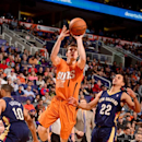 Goran Dragic #1 of the Phoenix Suns shoots against the New Orleans Pelicans on February 28, 2014 at U.S. Airways Center in Phoenix, Arizona. (Photo by Barry Gossage/NBAE via Getty Images)