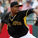 Pittsburgh Pirates pitcher Edinson Volquez throws in the second inning of an exhibition spring training baseball game against the New York Yankees in Bradenton, Fla., Wednesday, Feb. 26, 2014. The Pirates won 6-5 The Associated Press