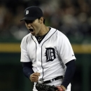 Detroit Tigers starting pitcher Anibal Sanchez reacts after the last out in the ninth inning of a baseball game against the Minnesota Twins in Detroit, Friday, May 24, 2013. Sanchez carried a no-hitter into the ninth until Twins' Joe Mauer singled. (AP Photo/Carlos Osorio)