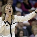 California head coach Lindsay Gottlieb directs her team against LSU in the first half of a regional semifinal game in the NCAA women's college basketball tournament Saturday, March 30, 2013, in Spokane, Wash. (AP Photo/Elaine Thompson)