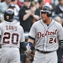 Detroit Tigers' Rajai Davis is congratulated by Miguel Cabrera after scoring in the first inning of a baseball game against the San Diego Padres Saturday, April 12, 2014, in San Diego The Associated Press