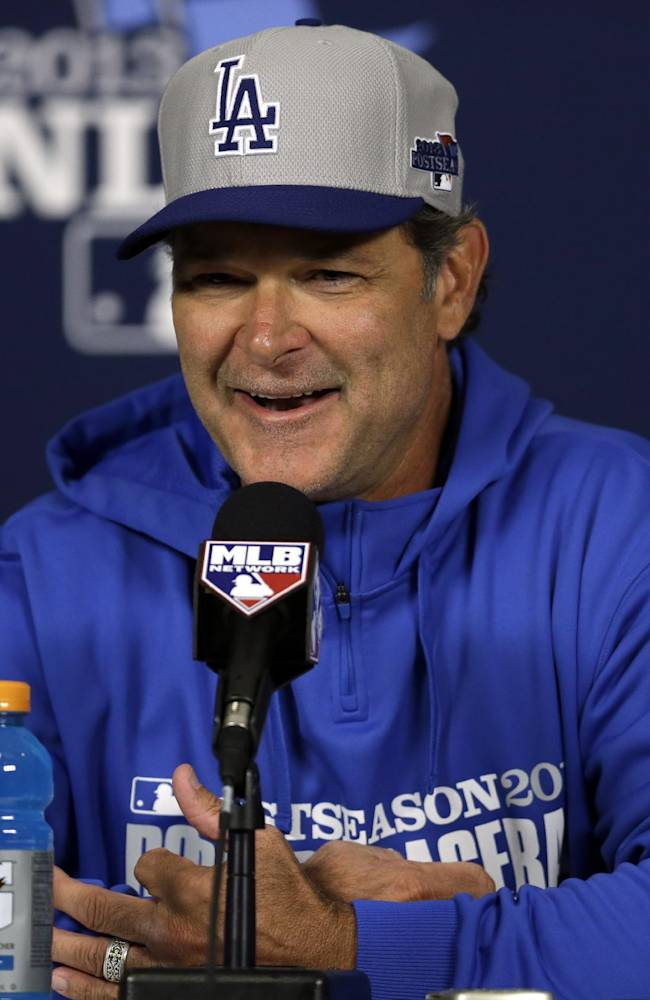 Los Angeles Dodgers manager Don Mattingly speaks during during a news conference at the National League baseball championship series Thursday, Oct. 10, 2013, in St. Louis. The Dodgers are are scheduled to play the St. Louis Cardinals in Game 1 of the NLCS on Friday in St. Louis