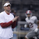 Alabama offensive coordinator Lane Kiffin runs drills during practice at the Mercedes-Benz Superdome in New Orleans, Monday, Dec. 29, 2014. They will square off against Ohio State in the Allstate Sugar Bowl NCAA football game, which will be played Jan. 1, 2015. (AP Photo/Gerald Herbert)