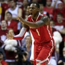Ohio State's Deshaun Thomas reacts after hitting a shot during the second half of an NCAA college basketball game against Indiana, Tuesday, March 5, 2013, in Bloomington, Ind. Ohio State won 67-58. (AP Photo/Darron Cummings)