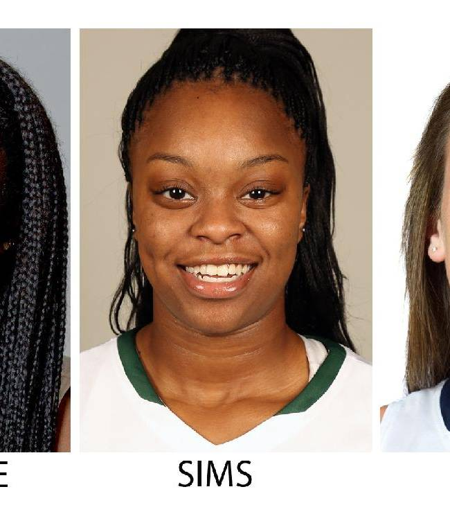 These recent photos provided by their respective schools show, from left, NCAA college basketball players: Kayla McBride, Notre Dame; Chiney Ogwumike, Stanford;  Odyssey Sims, Baylor; Breanna Stewart, UConn and Alyssa Thomas, Maryland. McBride, Ogwumike, Sims, Stewart and Thomas were selected to The Associated Press women's All-America team, released Tuesday, April 1, 2014. (AP Photo)