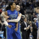 Florida Gulf Coast's Sherwood Brown, left, and Brett Comer celebrate after Brown's basket during the second half of a second-round game against Georgetown in the NCAA college basketball tournament, Friday, March 22, 2013, in Philadelphia. (AP Photo/Michael Perez)