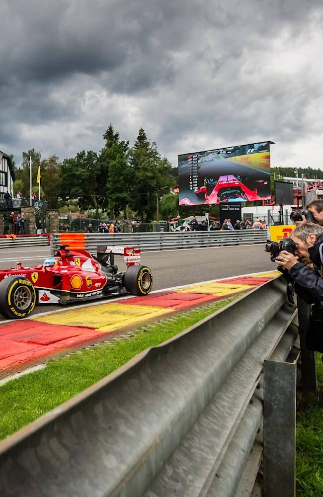 Ferrari driver Fernando Alonso of Spain steers his car during the second practice session ahead of Sunday's Belgian Formula One Grand Prix in Spa-Francorchamps, Belgium, Friday, Aug. 22, 2014