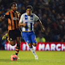 Brighton and Hove Albion's Leonard Ulloa, right, beats Hull City's Tom Huddlestone to score during the FA Cup fifth round soccer match at the AMEX Stadium, Brighton, England, Monday, Feb. 17, 2014