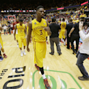 Iowa State forward Melvin Ejim (3) walks off the court after an NCAA college basketball game against Kansas, Monday, Jan. 13, 2014, in Ames, Iowa. Kansas won 77-70. (AP Photo/Charlie Neibergall)