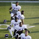 Minnesota Vikings outside linebacker Chad Greenway (52) stretches with teammates during an NFL football training camp practice, Monday, July 28, 2014, in Mankato, Minn The Associated Press