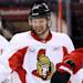 Ottawa Senators Jason Spezza smiles during NHL hockey practice in Ottawa Saturday, May 18, 2013. Spezza is expected to line up  for Game 3 of the Eastern Conference semifinal series on Sunday, that the Pittsburgh Penguins lead 2-0. (AP Photo/The Canadian Press, Fred Chartrand)