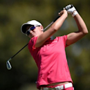 Apr 1, 2016; Rancho Mirage, CA, USA; Lee-Ann Pace tees off on the fifth hole during the second round of the ANA Inspiration tournament at Mission Hills CC - Dinah Shore Tournament Course. Mandatory Credit: Kelvin Kuo-USA TODAY Sports