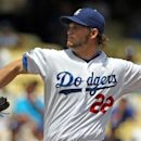 Los Angeles Dodgers starter Clayton Kershaw pitches to the Philadelphia Phillies in the first inning of a baseball game in Los Angeles, Wednesday, July 18, 2012. (AP Photo/Reed Saxon)