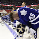 Toronto Maple Leafs goalie Jonathan Bernier stands at the blue line before NHL hockey game action against the Montreal Canadiens in Toronto, Wednesday, Oct. 8, 2014 The Associated Press