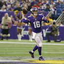 Minnesota Vikings quarterback Matt Cassel throws a pass during the first half of an NFL football game against the Detroit Lions, Sunday, Dec. 29, 2013, in Minneapolis. (AP Photo/Ann Heisenfelt)