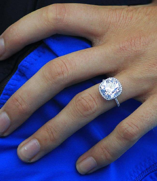 Caroline Wozniacki's engagement ring is seen on her ring finger after her women's singles match against Julia Gorges of Germany at the Sydney International tennis tournament in Sydney Monday, Jan. 6, 2014