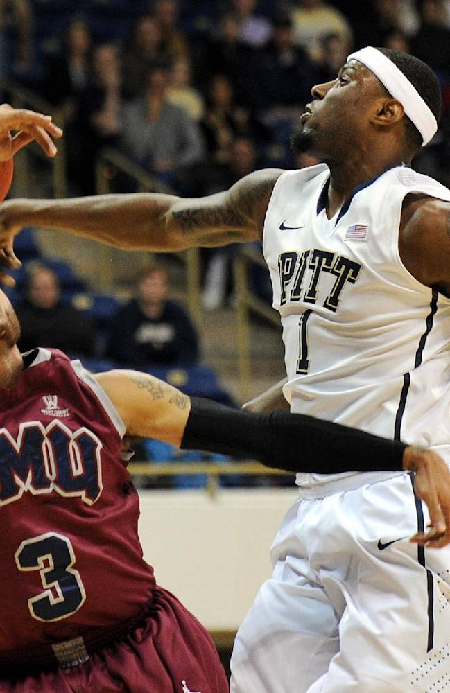Pittsburgh forward Jamel Artis (1) blocks a shot by Loyola Marymount guard Anthony Ireland (3) during the first half of an NCAA college basketball game on Friday, Dec. 6, 2013, in Pittsburgh
