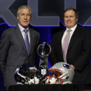 Seattle Seahawks head coach Pete Carroll, left, and New England Patriots head coach Bill Belichick participate in a news conference for NFL Super Bowl XLIX football game Friday, Jan. 30, 2015, in Phoenix The Associated Press