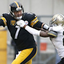 Pittsburgh Steelers quarterback Ben Roethlisberger (7) scrambles away from New Orleans Saints cornerback Keenan Lewis (28) in the first quarter of an NFL football game Sunday, Nov. 30, 2014, in Pittsburgh The Associated Press