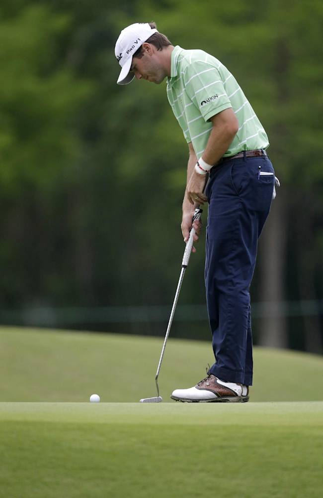 Ben Martin makes a birdie putt on the 10th hole during the second round of the Zurich Classic golf tournament at TPC Louisiana in Avondale, La., Friday, April 25, 2014