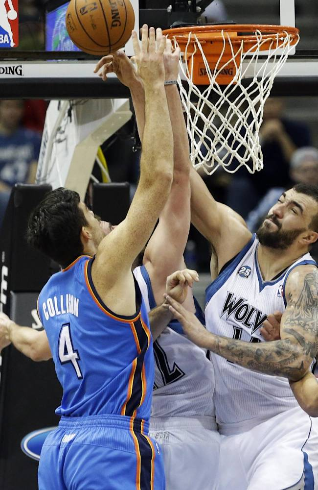 Minnesota Timberwolves' Nikola Pekovic, right, of Montenegro, blocks a shot attempt by Oklahoma City Thunder's Nick Collison in the first quarter of an NBA basketball game, Friday, Nov. 1, 2013, in Minneapolis