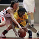 Utah guard Danielle Rodriguez, left, and California guard Eliza Pierre, right, battle for a loose ball in the first half during an NCAA basketball game on Friday, Jan. 4, 2013, in Salt Lake City. (AP Photo/Rick Bowmer)