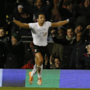 Fulham's Kieran Richardson celebrates his goal against Liverpool during their English Premier League soccer match at Craven Cottage, London, Wednesday, Feb. 12, 2014