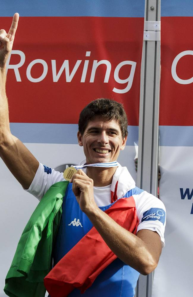 Marcello Miani of Italy Lightweight Men's Single Sculls celebrates after winning the final event of the World Rowing Championships in Amsterdam, Netherlands, Friday August 29, 2014